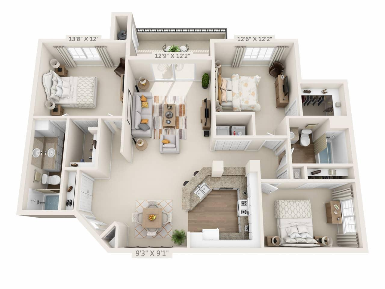 $4212 Three bedroom Apartment for rent