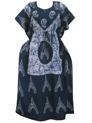 Womens kaftan Gray Batik Print Maxi Dress Cotton Caftans