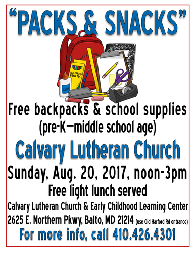 CALVARY LUTHERAN CHURCH – FREE BACKPACKS & SCHOOL SUPPLIES