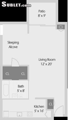 $828 Studio Apartment for rent