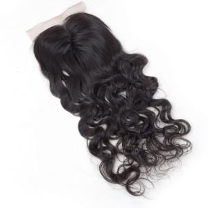 T1 hot sales hair closure top quality deep wave 4x4 middle part