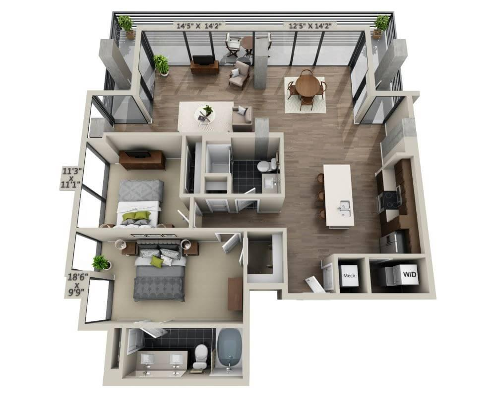 $6990 Two bedroom Apartment for rent