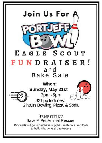Join Us for a Port Jeff Bowl Eagle Scout Fundraiser May 21st! 3-5pm
