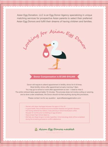 Asian or Asian mix egg donors wanted $7,000-$10,000