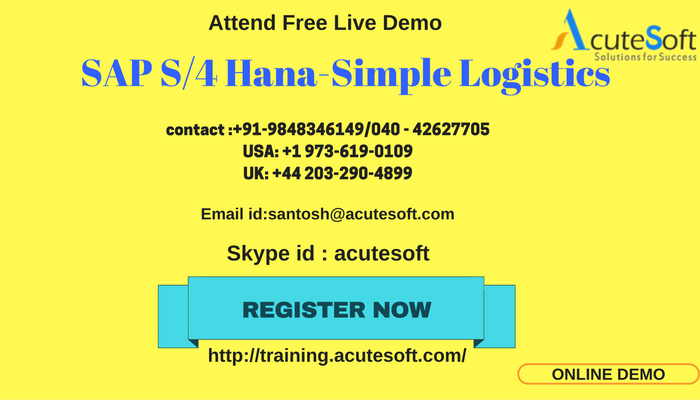 SAP S/4 Hana Simple Logistics Online Training with Project Case Studies - Acute Soft Solutions