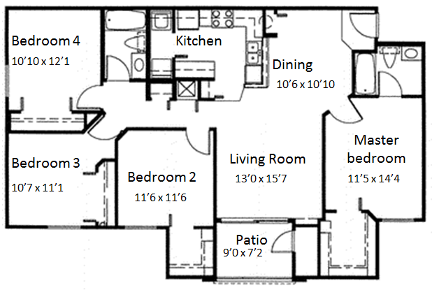 $1205 Four bedroom Apartment for rent