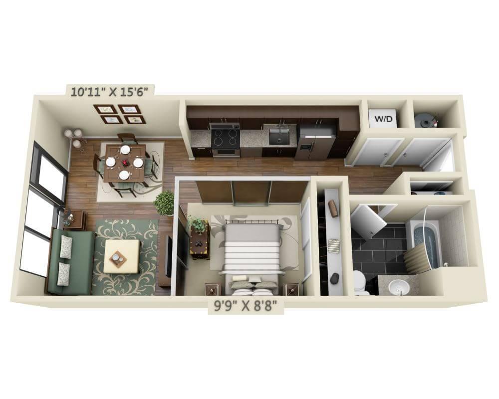 $1943 Studio Apartment for rent