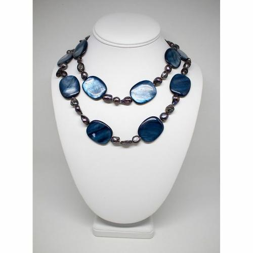 FANCY BLUE REAL PEARL NECKLACE