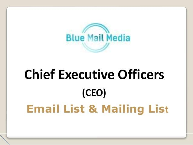 Chief Executives Mailing List - CEO Email Lists and Mailing Lists