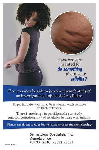 LADIES!!! CELLULITE TREATMENT RESEARCH-  NO COST