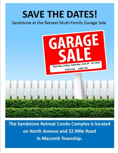 Multi-family garage sale at Sandstone Condos at the Retreat