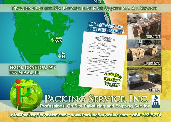 On-site Palletizing Furniture, Machinery & Shipping Service in Miami, Florida - Packing Service, Inc