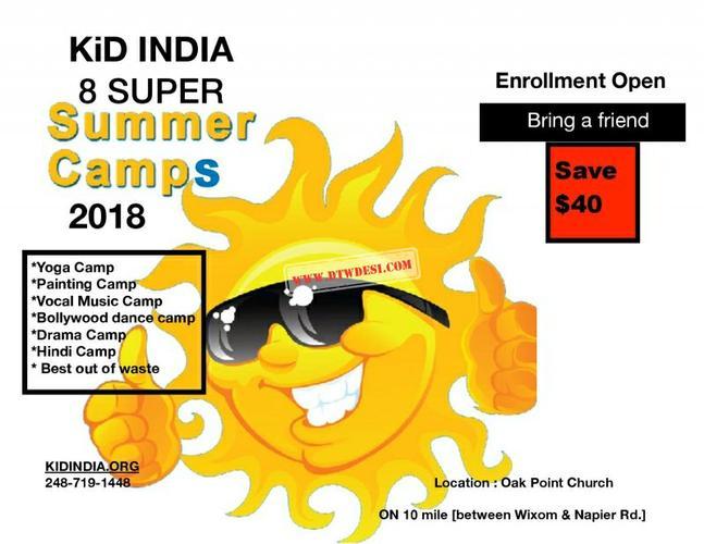 Kid India - Summer Camp in Farmington, MI.