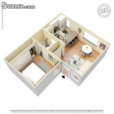 $734 One bedroom Apartment for rent