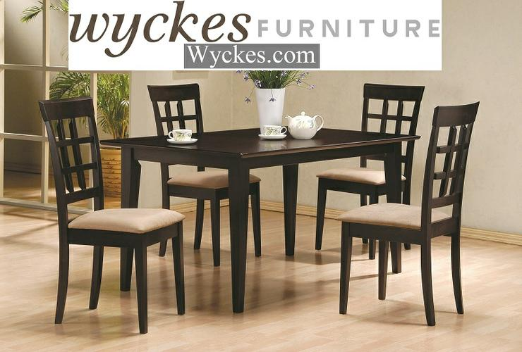 5 Piece dining table set cappuccino finish (NEW)