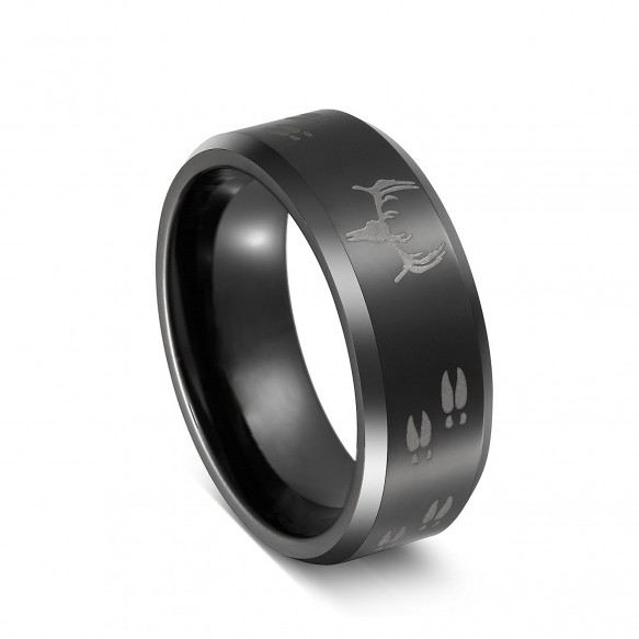 Big sale 80%OFF Laser Etched Deer Head Scene Black Mens Tungsten Hunting Men Rings