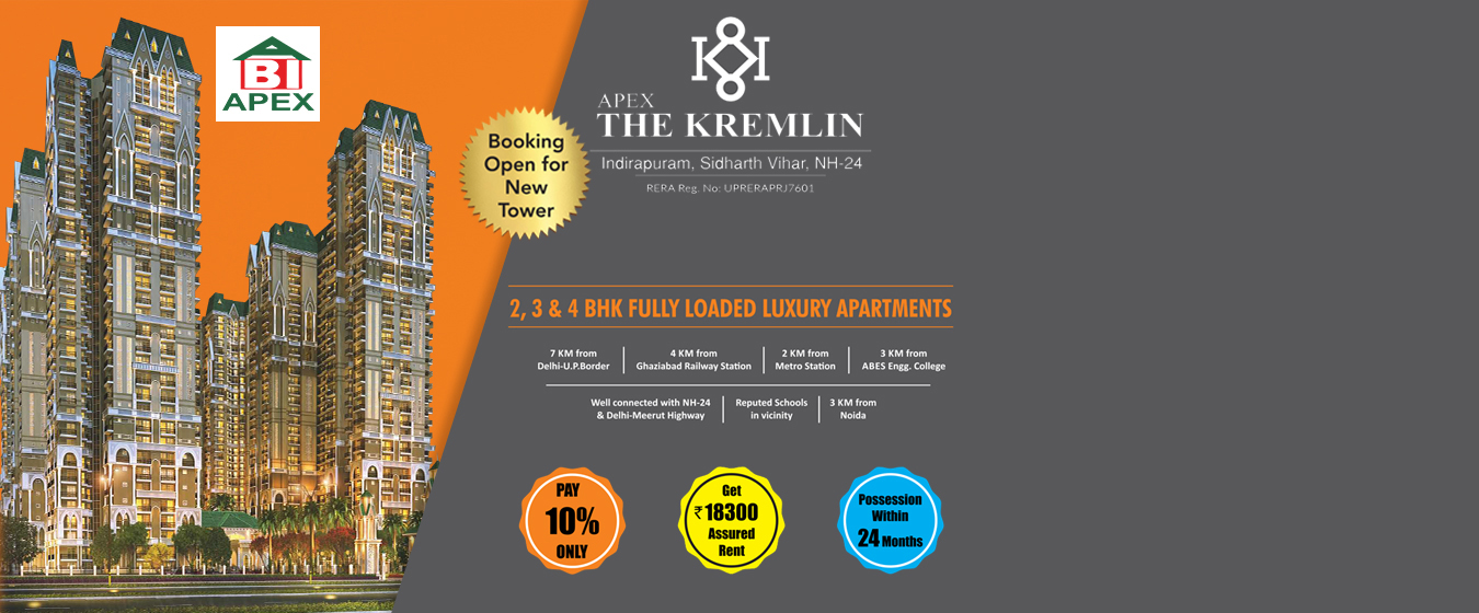 Apex The Kremlin 2, 3 BHK for booking call us: +918010654321