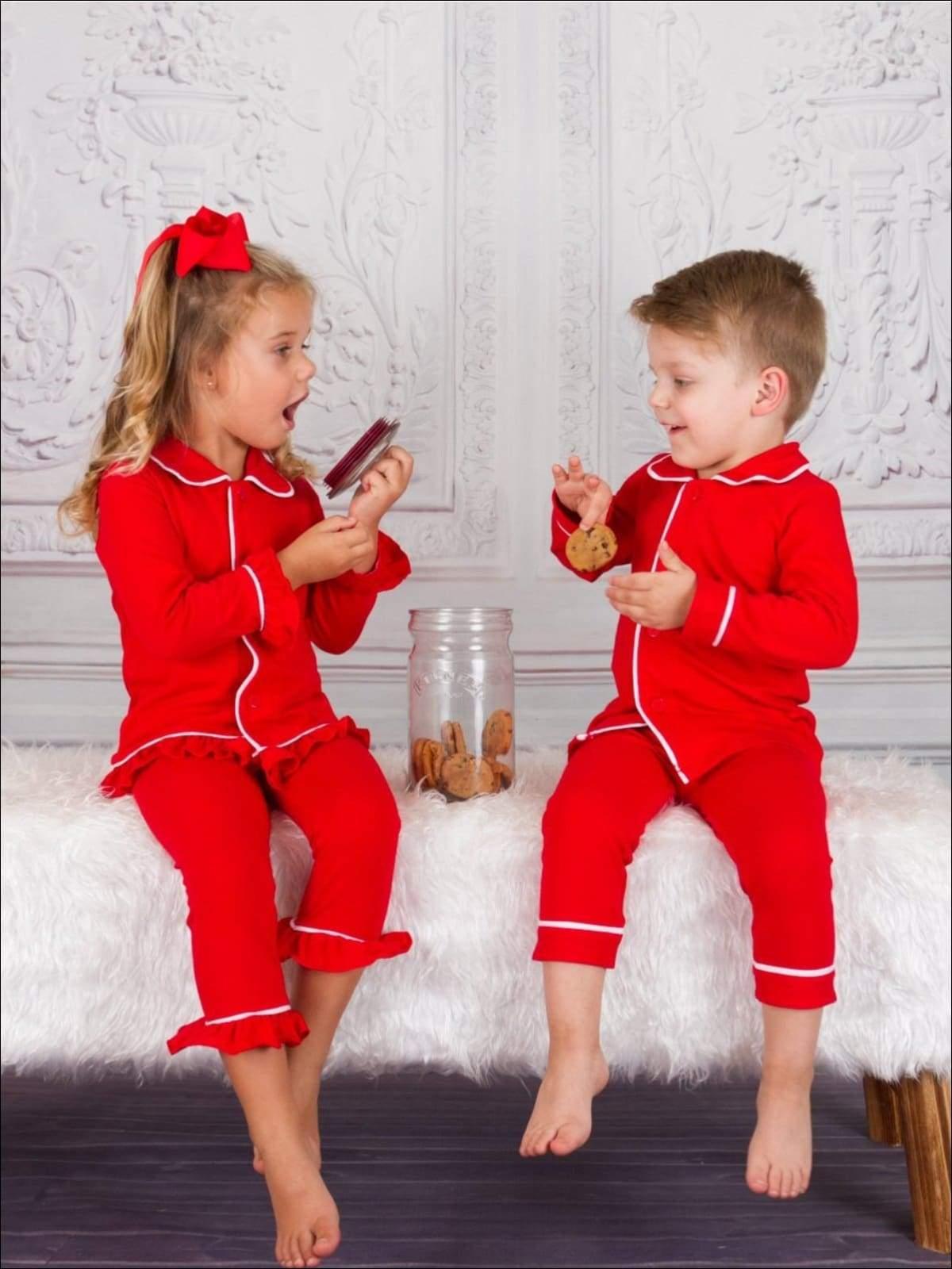 Red Classic Holiday & Christmas Pajamas Set for Kids