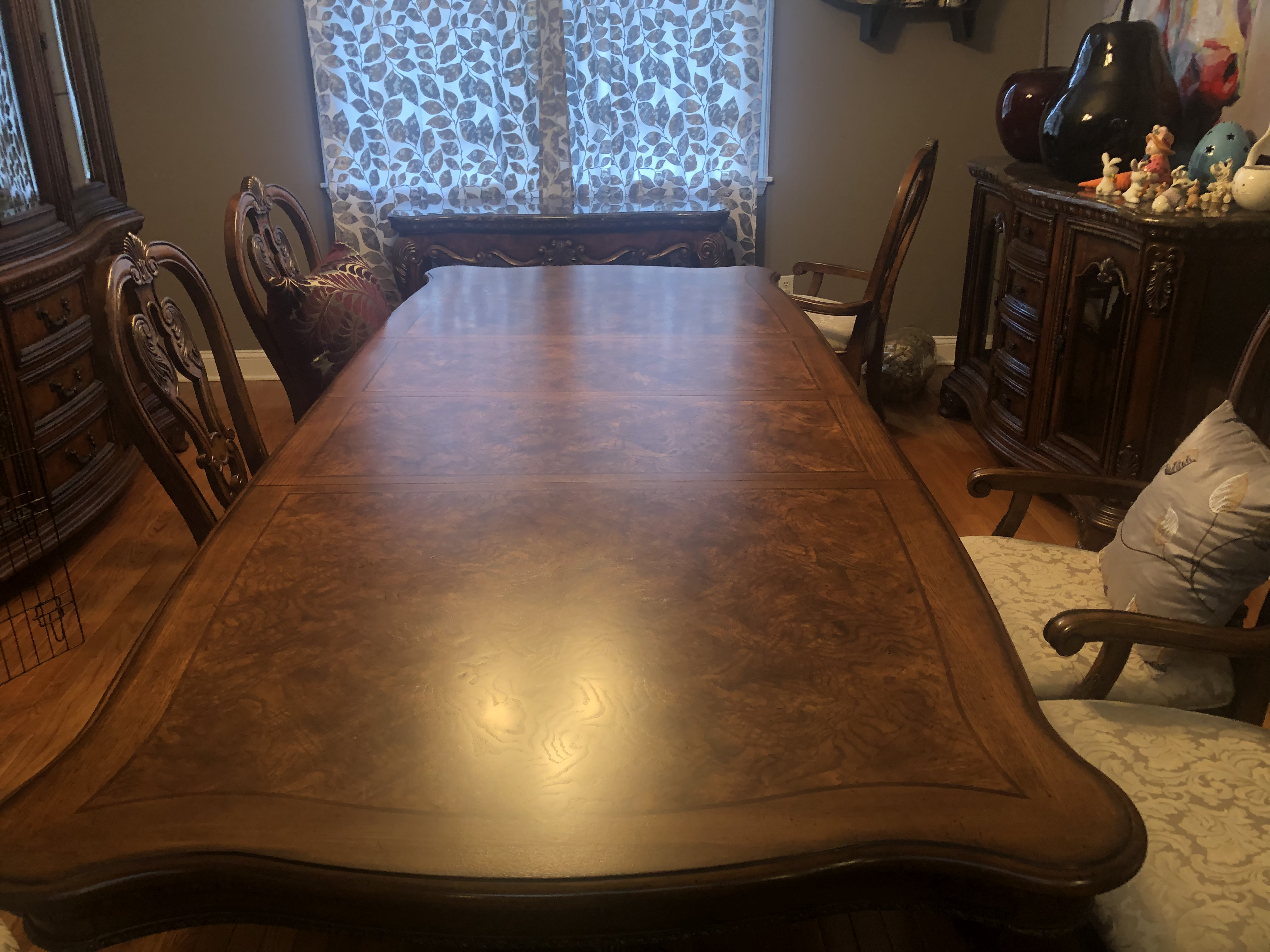 Dining room set: table, 2 leaves, chairs, buffet, china closet and serving table