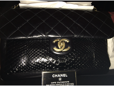 BRAND NEW 2017 AUTH Large Chanel Calfskin Python Flap w/reciept &tag