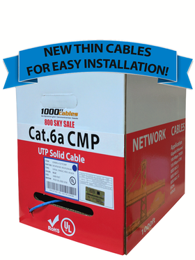 Cat6A Plenum 1000FT Bulk Ethernet Cable with Free Shipping