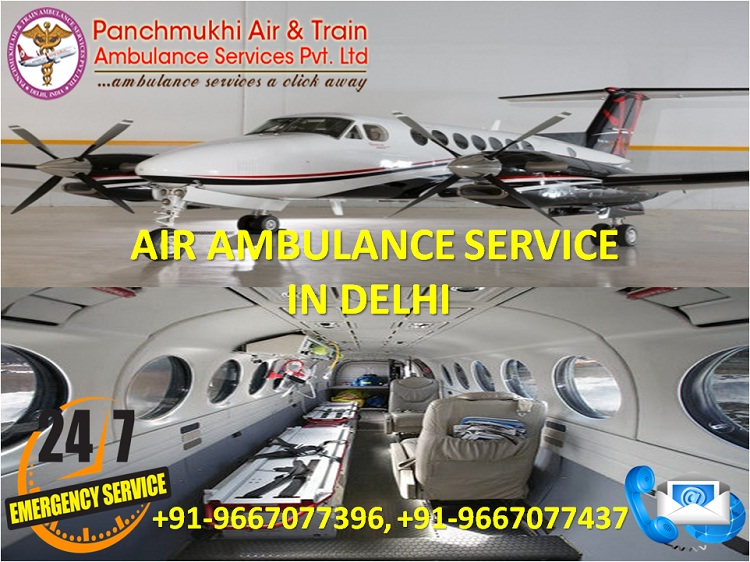 Most Reliable and ICU Support Air Ambulance in Delhi by Panchmukhi