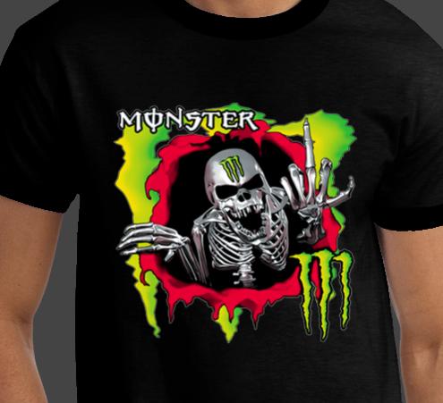 MONSTER SKULL Rare European Brand New Energy T-shirts