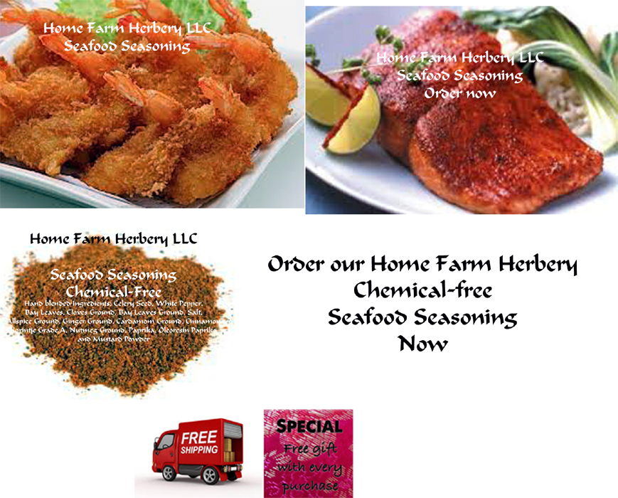 Seafood Seasoning, a perfect blend, order now, free shipping, free gift