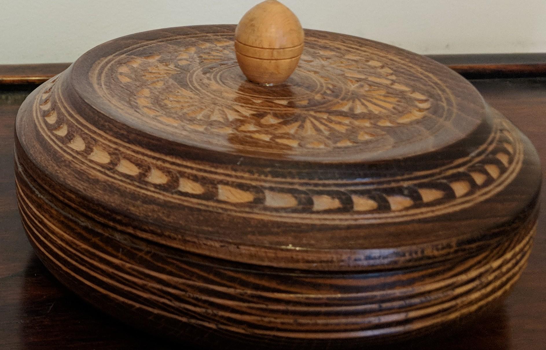 Vintage Round Wooden Trinket Box