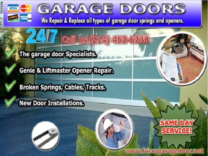 24/7 Garage Door Spring Repair and Replacement ($25.95) Frisco Dallas, 75034 TX