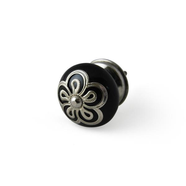 Stamped Metal Black Cabinet Knobs, Set of 4 | Artisanal Creations