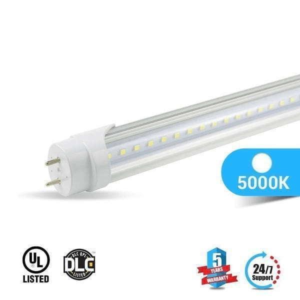 T8 4ft 22W LED Tube 3000 Lumens 5000K Clear Single Ended Power