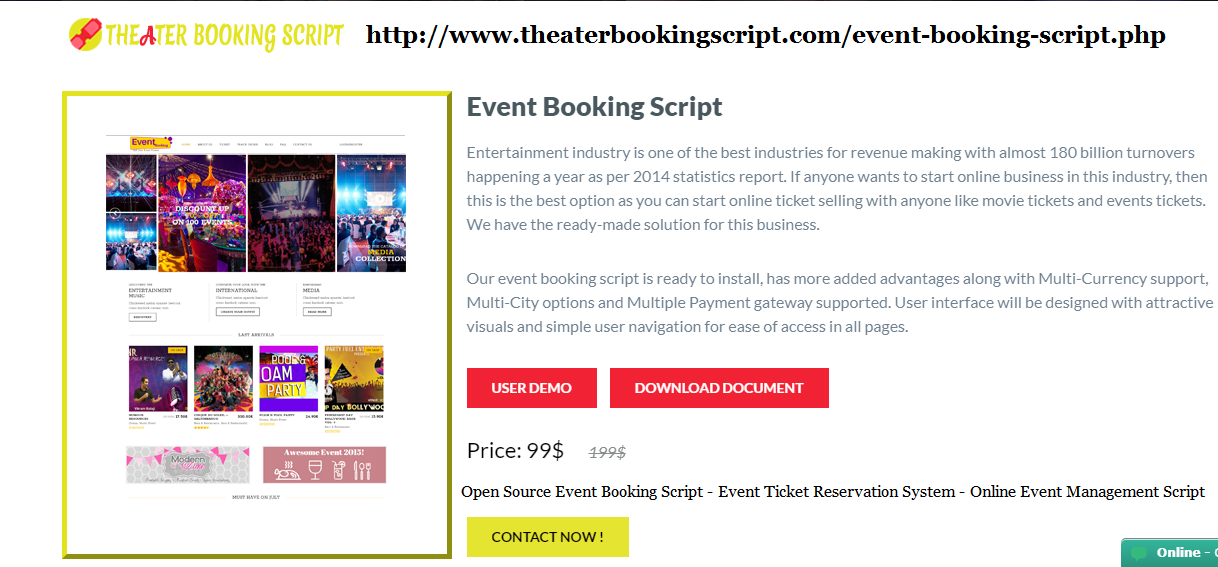 Open Source Event Booking Script