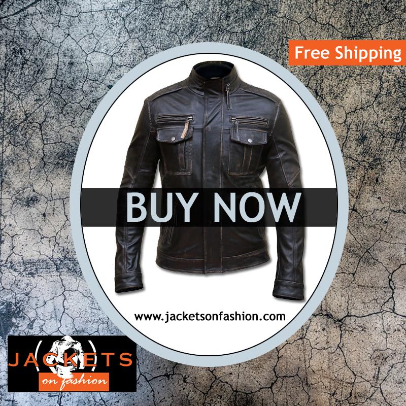 Mens Vintage Biker Style Motorcycle Jacket