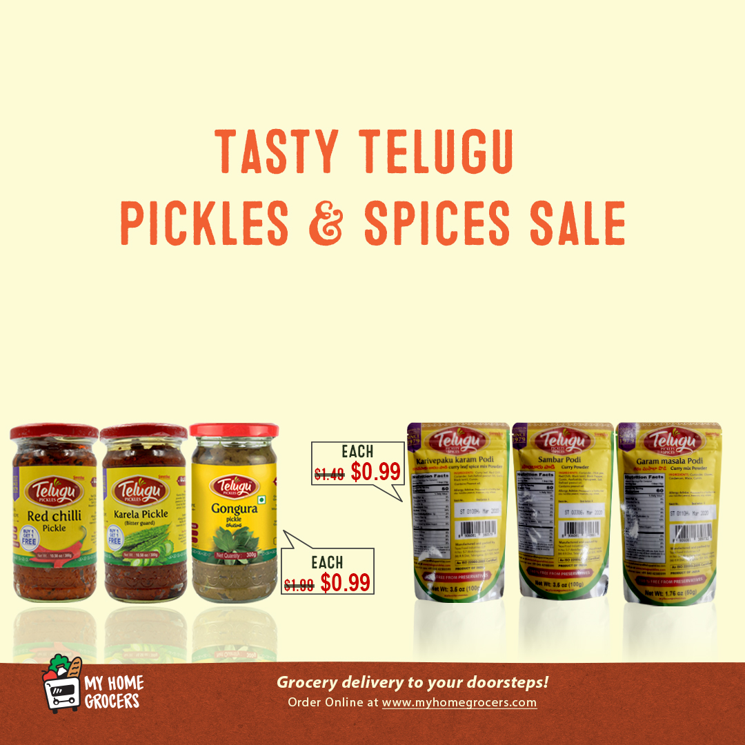 Tasty Telugu Pickles & Spices Sale Online Mckinney,Texas - MyHomeGrocers