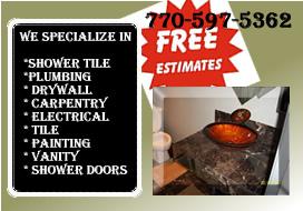 Bathroom remodeling, custom showers, tiles work, kitchen remodeling Call free estimate 7705975362