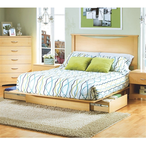 Full / Queen Platform Bed with Storage Drawers and Headboard in Natural.FF-00000003421PFB.