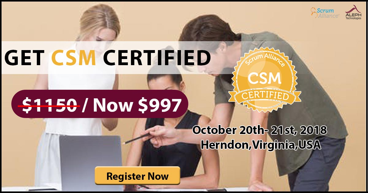 Certified Scrum Master (CSM®) | Herndon, Reston, VA, USA