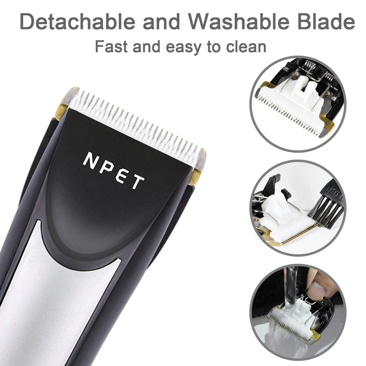 NPET Hair Clippers for Men, 5 Speed Adjustable and Low Noise Beard Trimmer Hair Cutting Kit