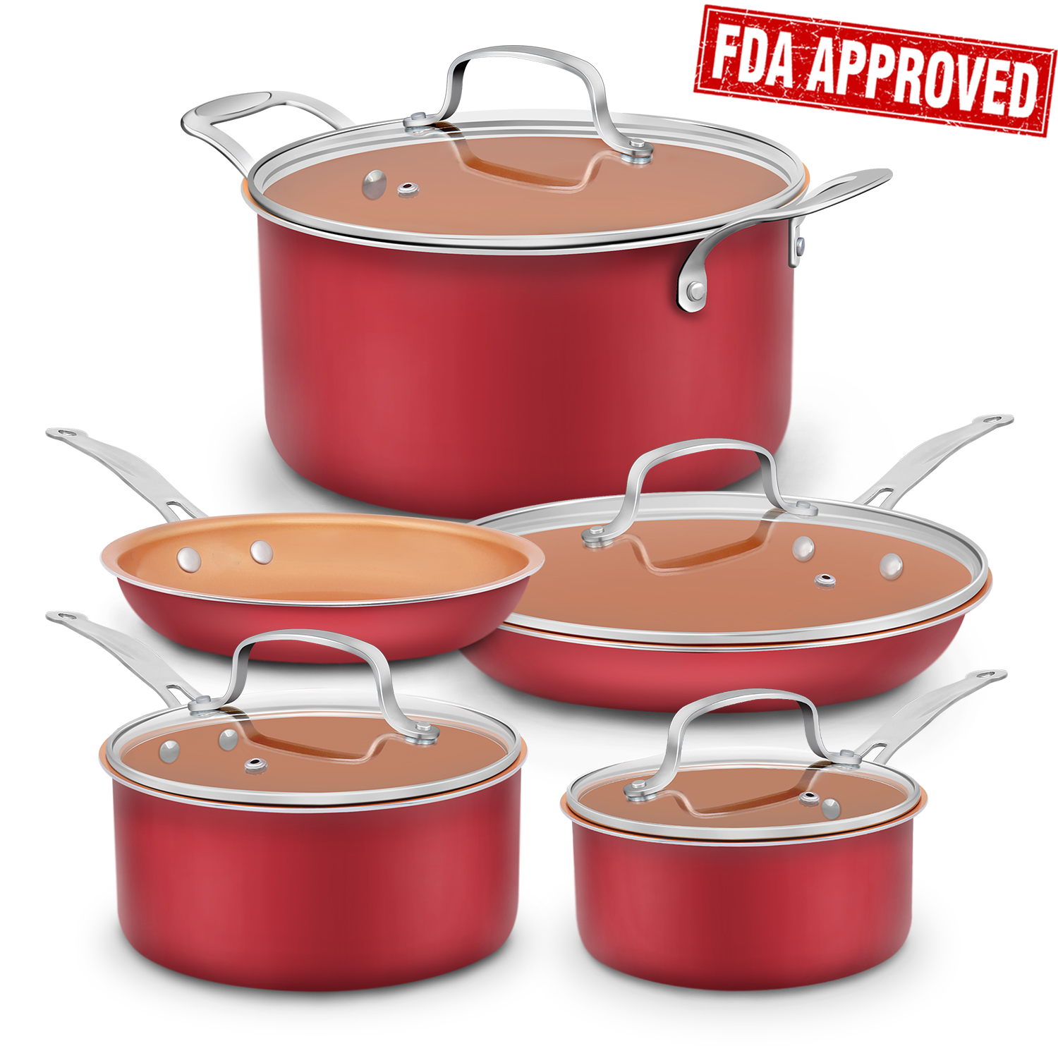 9-Piece Aluminum-Infused Copper Ceramic Non-Stick Cookware Set
