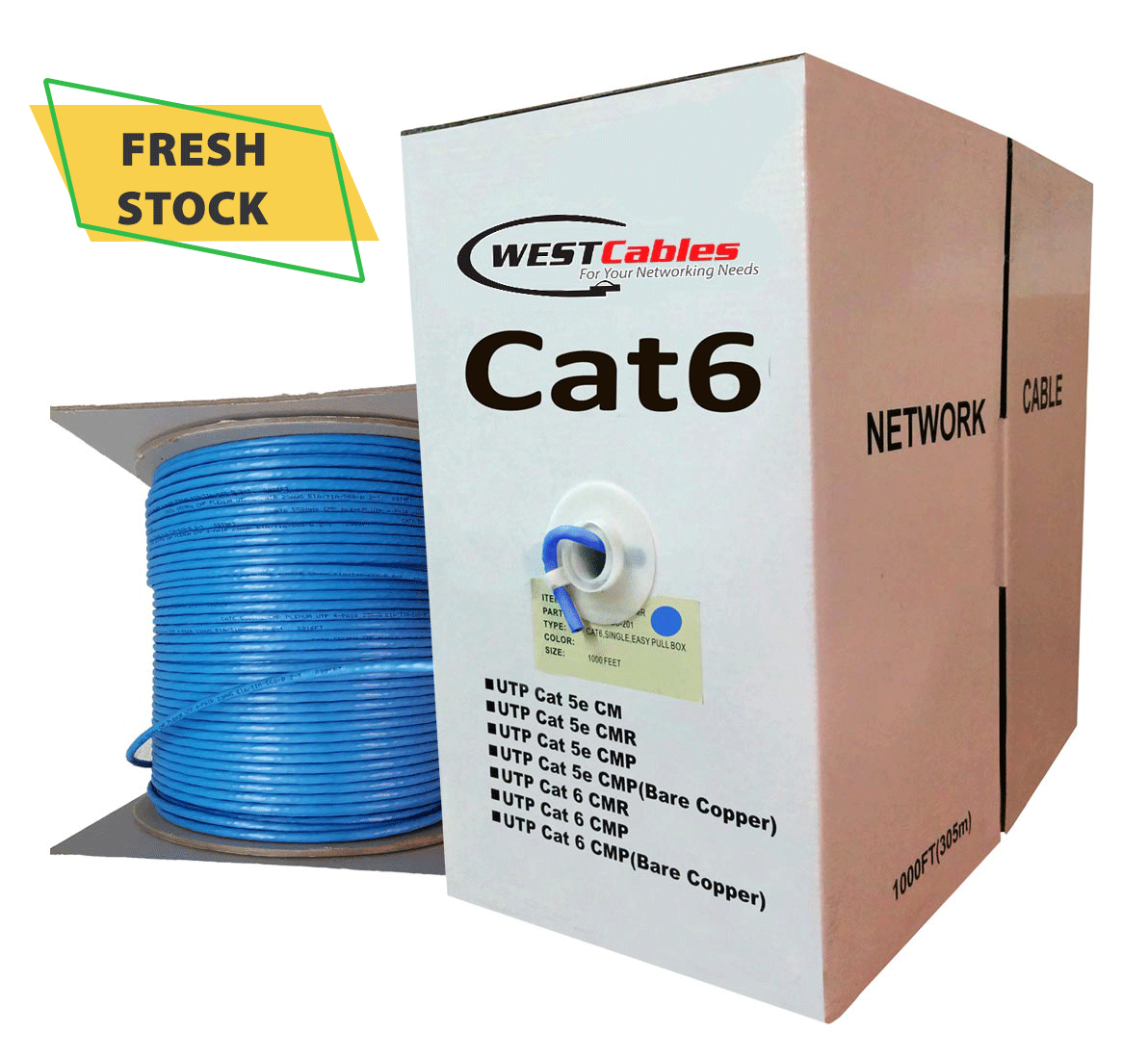 Cat6 Plenum CMP Ethernet UTP Bulk Cable.