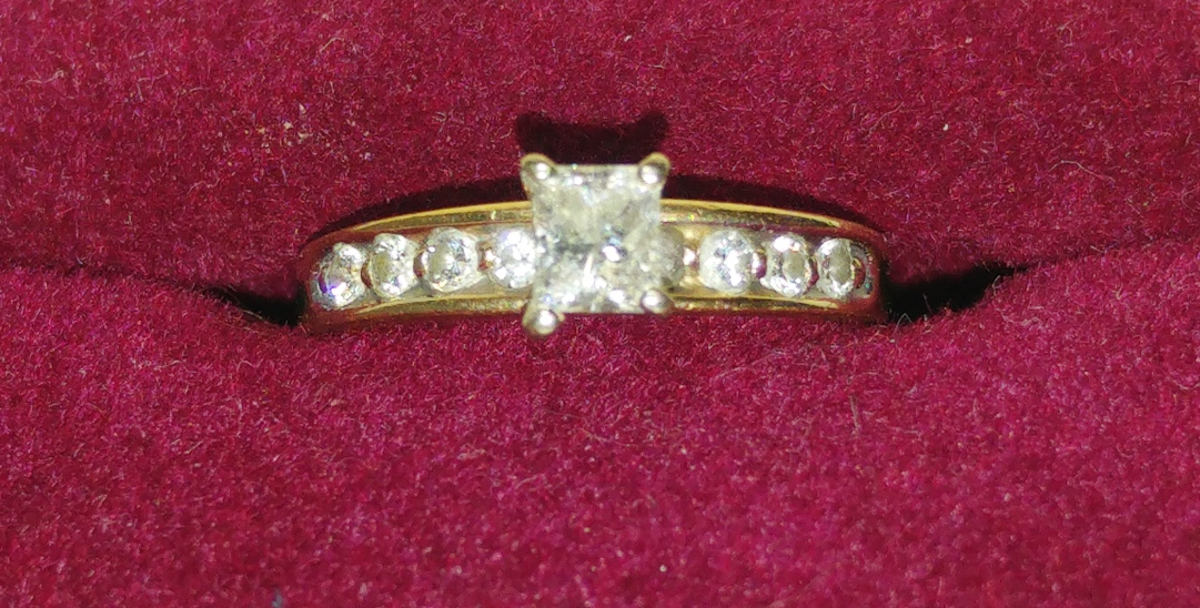 Princess Cut Diamond Engagement Ring with Box.  (I have my receipts)