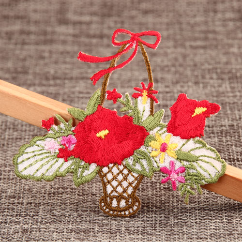 Flower in Basket Embroidered Patches
