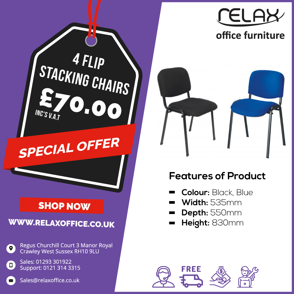Buy 4 Flip Stacking chairs in only £70