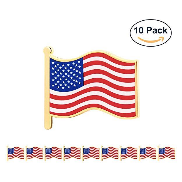 "GS-JJ 10 Pcs 1"" American Flag Pins Bulk,"