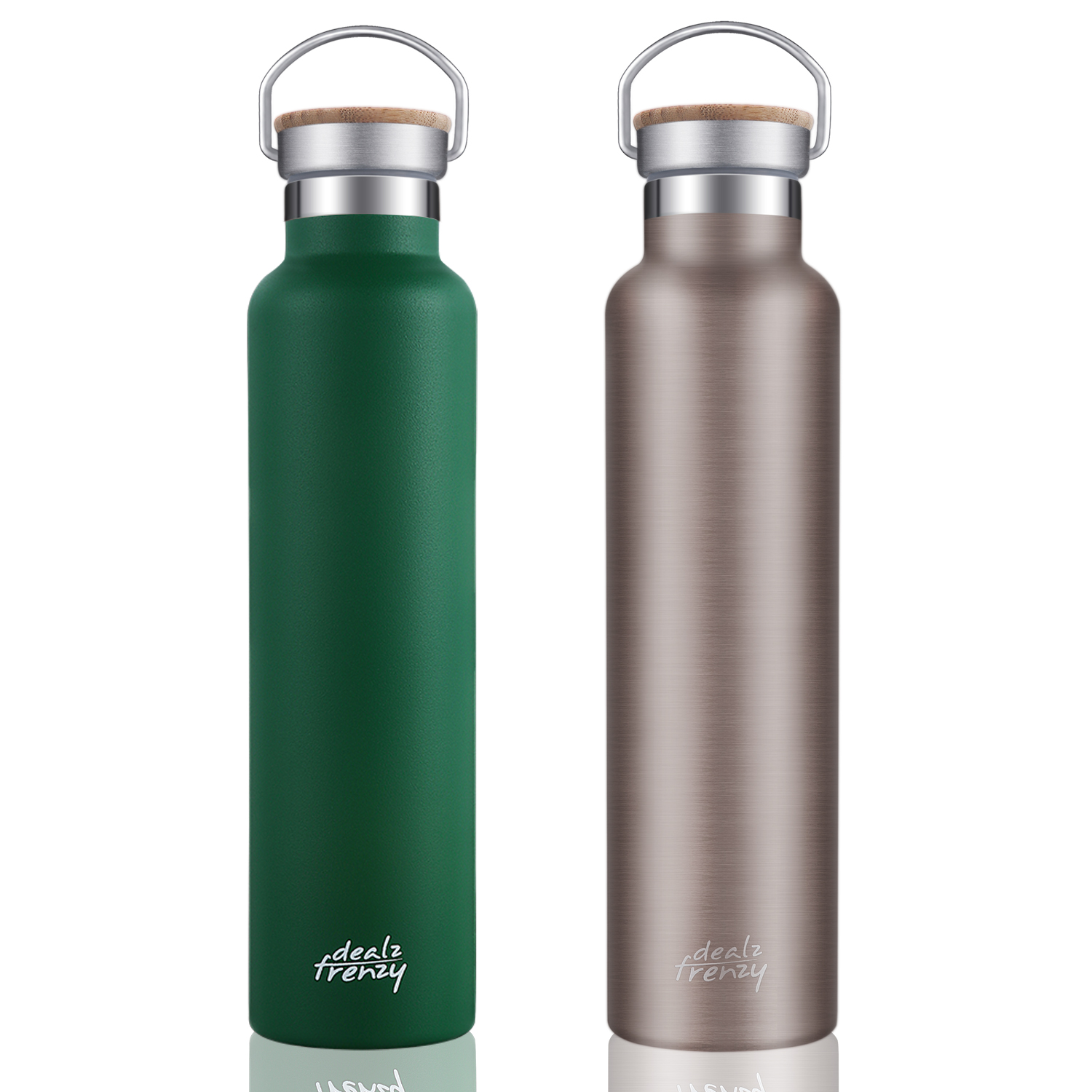 Double Wall Stainless Steel Wide Mouth Water Bottles with Bamboo Lid, Save 10% off