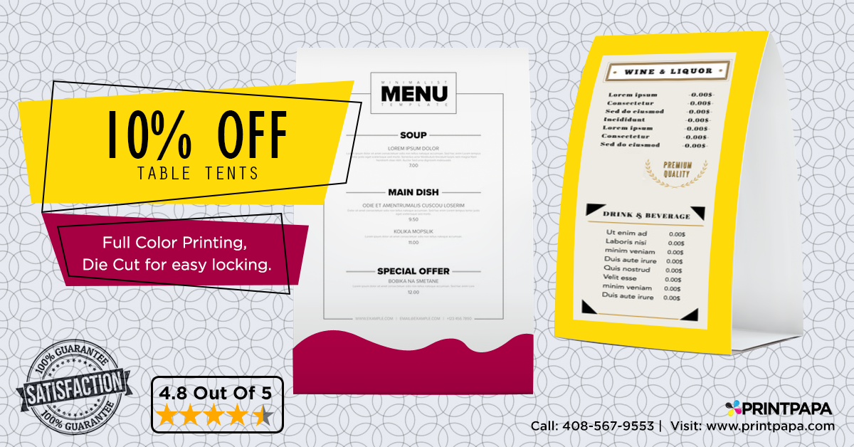 Get 10% Off on Table Tents