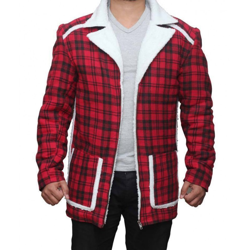Deadpool Ryan Reynolds Red Shearling Fur Jacket Coat