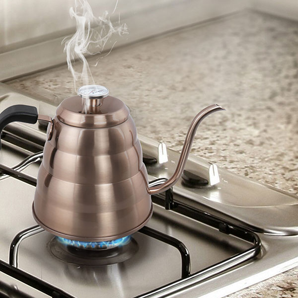 Triple Layer 18/8 Stainless Steel Drip Kettle with Integrated Thermometer