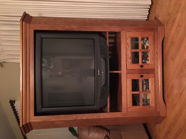 SONY Televison and Oak TV Cabinet